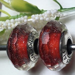 Red shimmer Pandora Charms